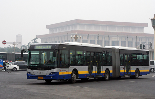 A Bus Rapid Transit vehicle in Beijing, across from the Forbidden City. Photo by AaverageJoe.