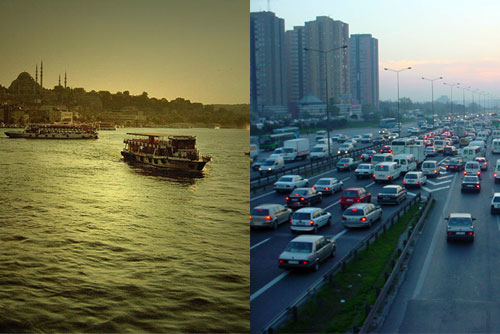 Ferry-boats and traffic in Istanbul