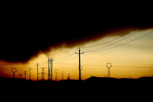 Power lines and pollution in northern China. Photo by <a href=