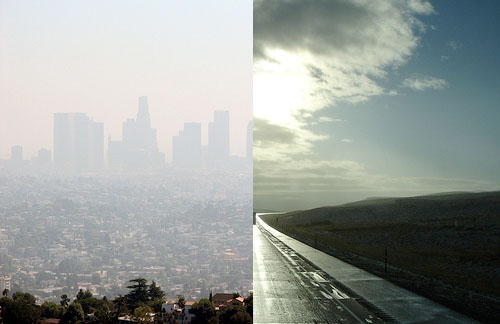 Smog in Los Angeles (left) contrasts with blue skies near Cheyenne, Wyo. Photo by <a href='https://www.flickr.com/photos/texas_hillsurfer/1464681581/'>Texas Hillsurfer -- WW Tribe Wanderer</a> and <a href='https://www.flickr.com/photos/infinitewilderness/261718673/'> Infinite Wilderness</a>