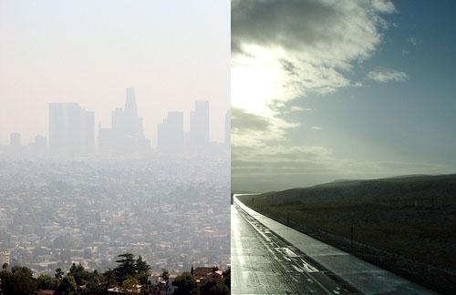 Smog in Los Angeles (left) contrasts with blue skies near Cheyenne, Wyo. Photo by <a href='https://www.flickr.com/photos/texas_hillsurfer/1464681581/'>Texas Hillsurfer -- WW Tribe Wanderer</a> and <a href='https://www.flickr.com/photos/infinitewilderness/261718673/'> Infinite Wilderness</a>