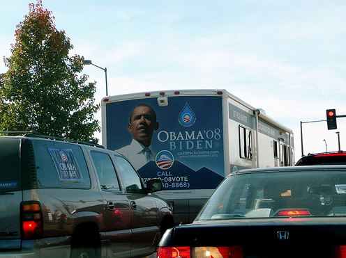Obama on wheels. Flickr photo by Scorpions and Centaurs.