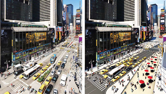 A rendering of a car-free Times Square. Illustration via Streetsblog.