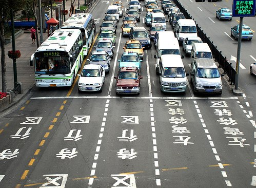 Traffic in Shanghai. Photo by SmokingPermitted.