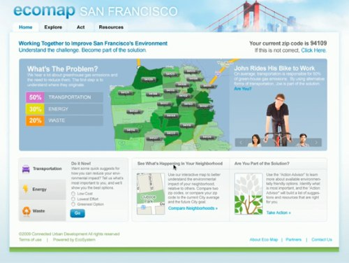 The world's first Urban EcoMap combines the social networking capabilities of Facebook with the geographical data of Google Maps to help urbanites reduce their carbon emissions. Image via Urban EcoMap.