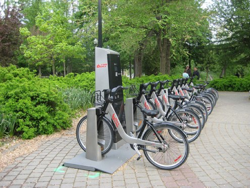 "Montreal's Public Bike System (PBS), also known as ""Bixi,"" provides a competitive alternative to the bikes-for-advertising business model. Flickr photo by amlibrarian."