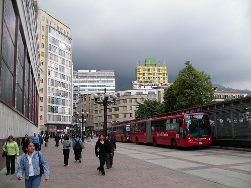 Downtown Bogota and the TransMilenio BRT. Photo by rutlo.