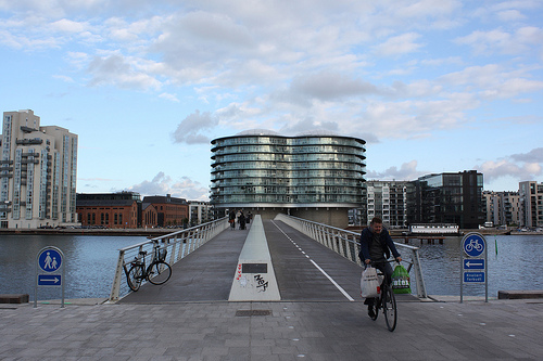 Copenhagen's road infrastructure places a high priority on pedestrians and cyclists. Photo by olympi.