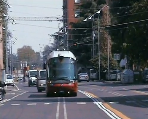 A new trolleybus corridor in Bologna, Italy tests new optical guide technology. Image from Roberto Amori on YouTube.