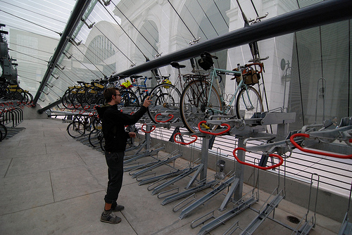 Evan, a local bike commuter, checks out the interior of the new facility. Photo by Rhys Thom.