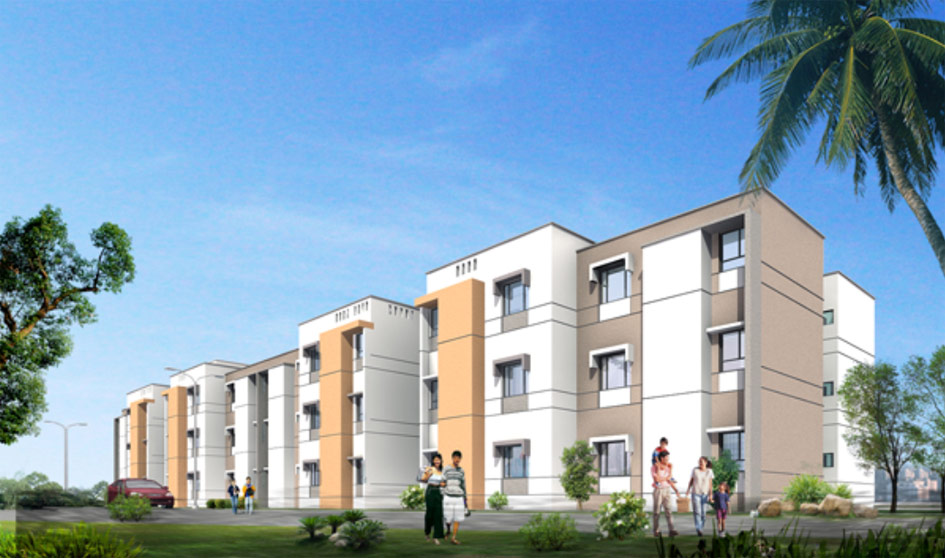 Rendering of Tata's Shubh Giha Housing Complex in Boisar, India
