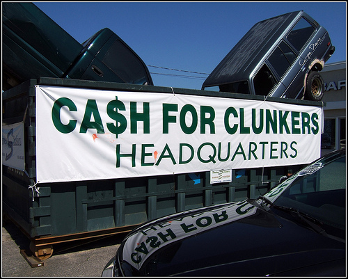 "Cash for Clunkers ""headquarters"" in Maine. Photo by Tony the Misfit."