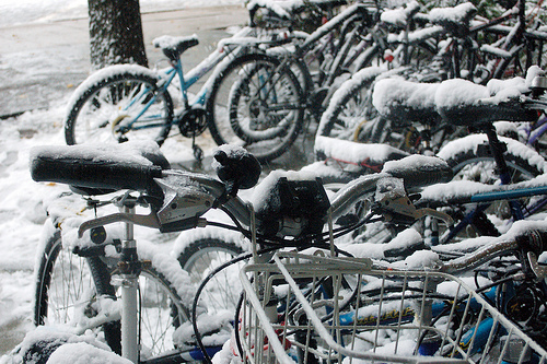 A cluster of snowed-in bikes at American University. Photo by Amberley Johanna