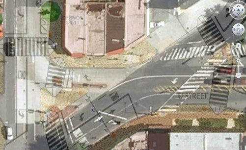 Proposed improvements overlaid on existing conditions at the U Street/Florida Ave. intersection. Image via SeeClickFix.
