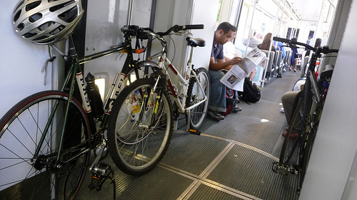 Bikes on Los Angeles County Metro's Gold Line. Photo by Nate Baird.