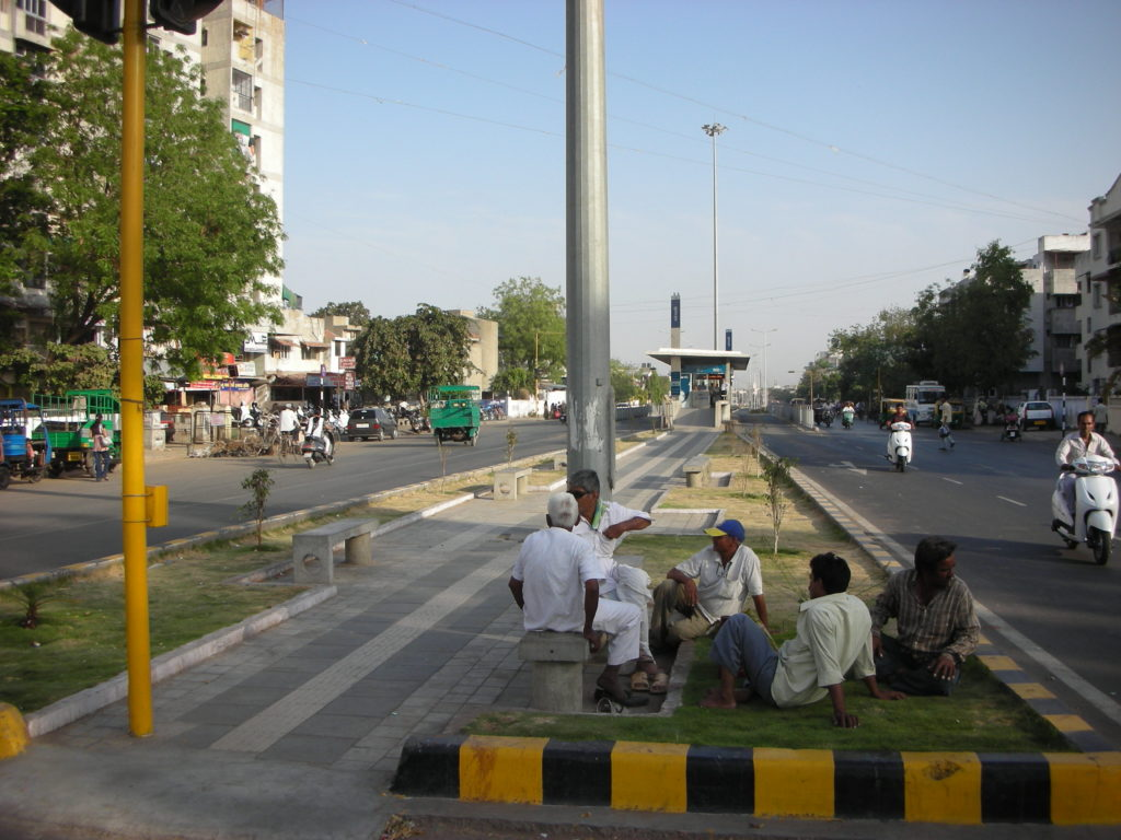 Public space extensions of the BRT. Photo by Prajna Rao.