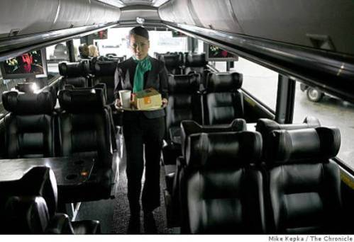 Mumbai's BEST buses may be joining other high-end bus operators around the world, like the Bauer Wi-Drive in San Francisco, that offer food and drinks to passengers.  Photo: Mike Kepka, The Chronicle.
