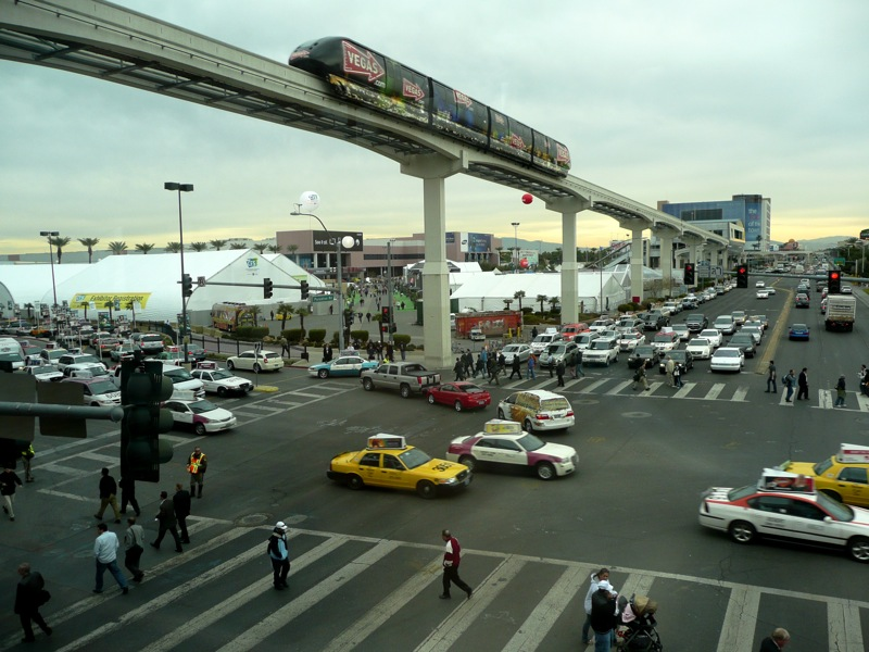 Monorails are expensive, carry limited capacity, and can fall victim to bankruptcy, as the Las Vegas Monorail (above) did.  Photo: http2007.