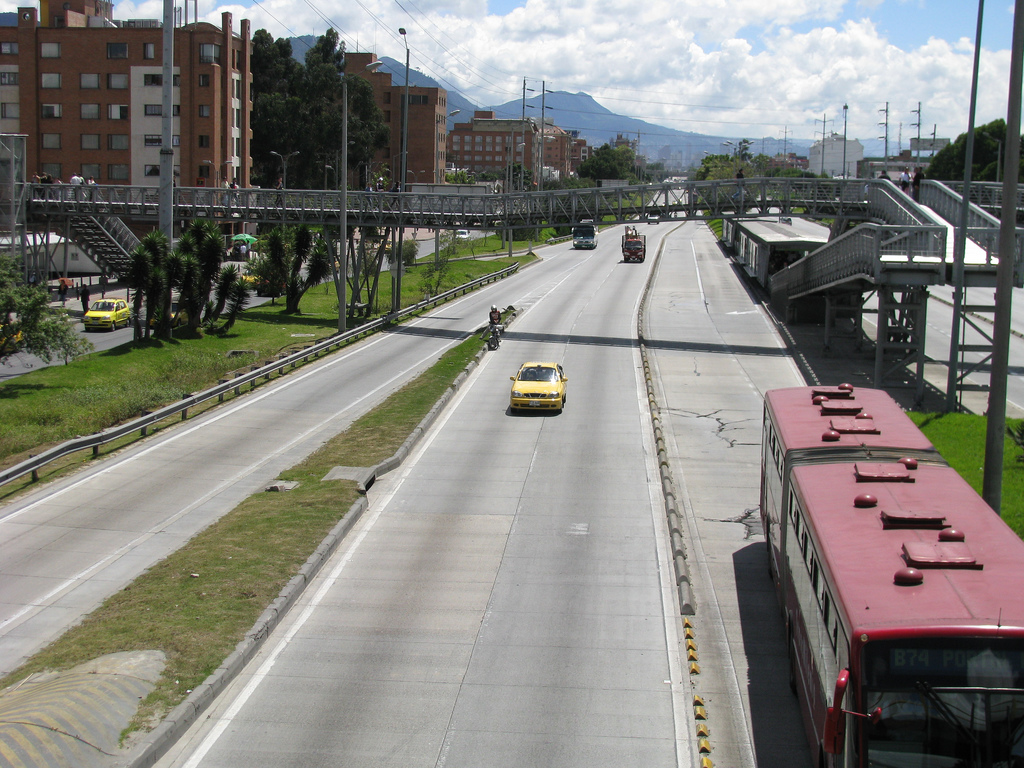 Evidence of land development impacts of BRT has been noted in other countries (like around Bogota's Transmilenio, above); now we know that BRT can boost property values here in the U.S. as well.  Photo: pattoncito.