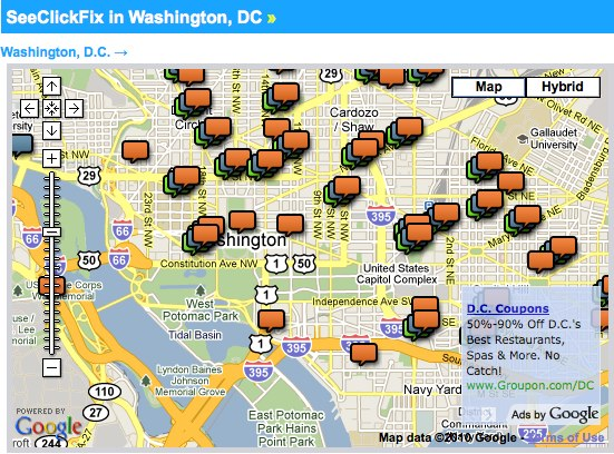 A screenshot of the SeeClickFix widget on TheCityFix DC.
