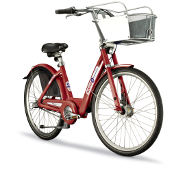 B-cycle's signature red bikes each have a basket to ease transporting things during a commute or shopping trip. Image via news.cnet.com.