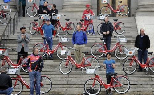 Denver cyclists gathered at the Denver City and County building to launch Denver's B-cycle on April 22 (Earth Day). They rode the shiny new red Trek bikes in a bike parade. Photo via ColoradoDaily.com.