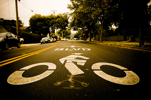 Bike boulevards like this one in Berkeley, California give bikes priority on the roads. Photo via My Standard Break From Life.
