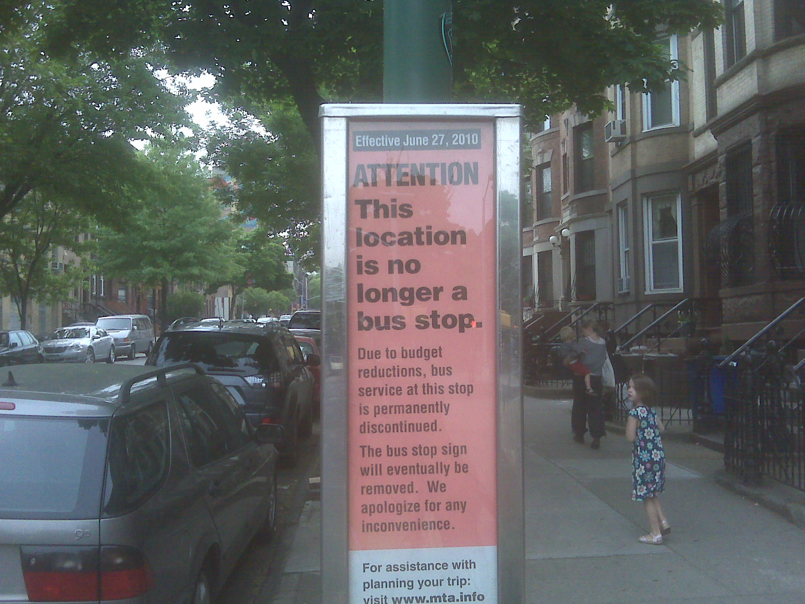 A sign informs riders that 6th Avenue and Union Street in Park Slope, Brooklyn is no longer a bus stop. Photo via transportationnation.org.