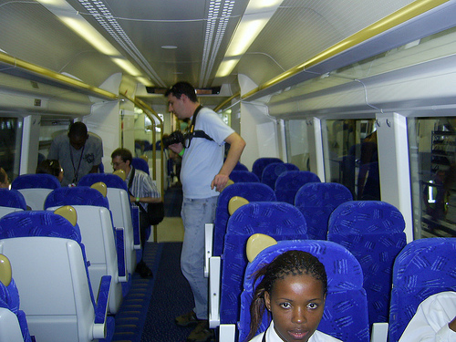 World Cup fans take the Gautrain from the OR Tambo International Airport. Photo via Shine 2010 - 2010 World Cup good news.