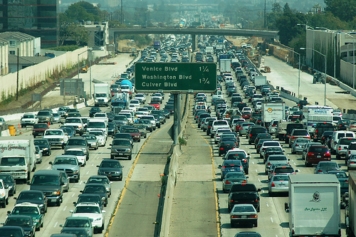 Los Angeles is notorious for traffic jams stretching miles out of the city. Photo via Atwater Village Newbie.