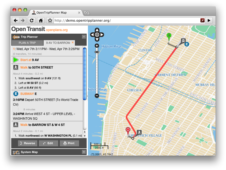 The OpenTripPlanner, developed by OpenGeo, is an open-source software that plans true multi-modal trips combining walking, biking and transit.