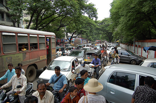 Cars, buses, motorbikes and rickshaws compete for space in Pune, India. Photo by Deadly Tedly.