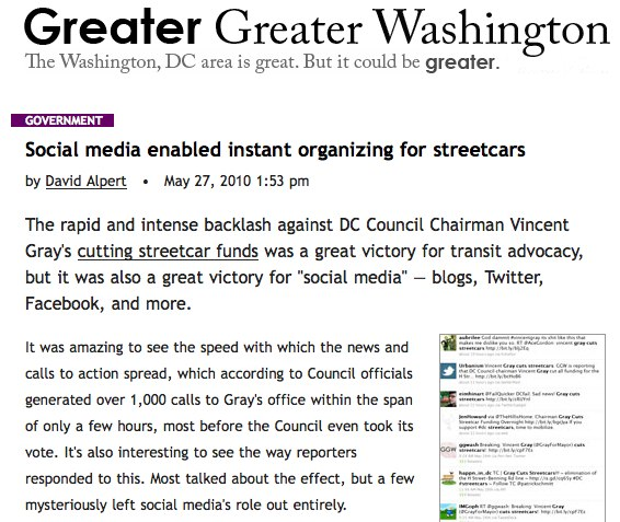 David Alpert writes about his online campaign to help save the H Street streetcars.