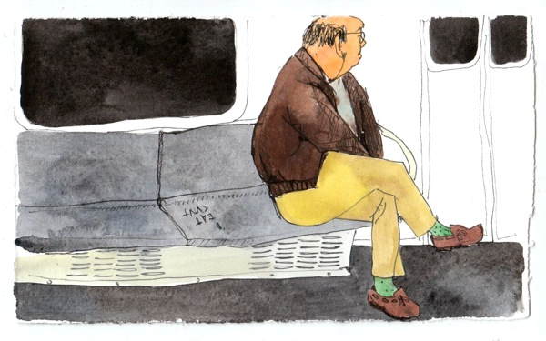 Public transit can provide great opportunities for artists to capture people going places. Drawing by Aurora Andrews.