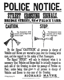 The first pedestrian crossing signal was installed in London in 1868, but it was controversial and removed quickly. Image via https://en.wikipedia.org/wiki/Pedestrian_crossing.