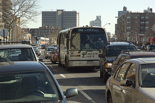 New York City buses lurch along at an average speed of 7.5 miles per hour. But that is quickly changing, as NYC pushes for BRT. Photo via Pro-Zak.