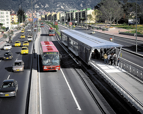 More than 79 percent of Latin Americans live in cities, and suffer from exposure to pollutants - and lost time - due to congestion. BRT -- like Transmilenio, in Bogotá (above) -- has proven itself as the answer to cities' transport troubles. Photo via Volvo.