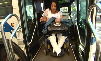 Brooklyn resident Mildred Escobar rode the B39 bus until it was cut in June. Disabled passengers in NYC are preparing to sue the MTA for the disparate impact of its transit cuts. Image via NBC New York.
