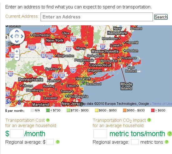 Abogo's map shows Boston, New York City, and Philadelphia as small oases of green -- where households spend an average of <$800 per month on transportation -- in larger sprawls of red, where the average household spends >$930 per month on transportation. Image via abogo.cnt.org.