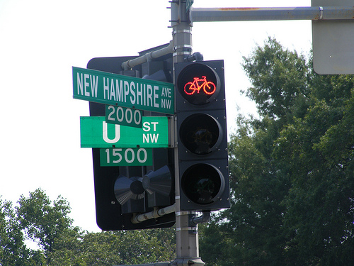 Have a bird name for the new bike lights at New Hampshire Ave and U St. NW? Let us know in the comments section below! Photo via DDOTDC.