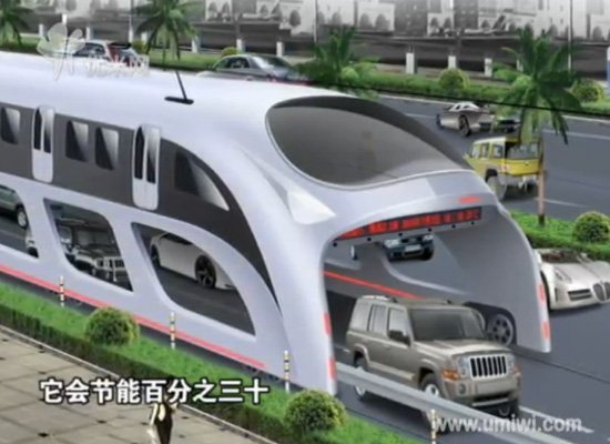 "The ""Straddling Bus"" that can drive over cars is the newest Chinese solution to traffic. Image via Huffington Post."