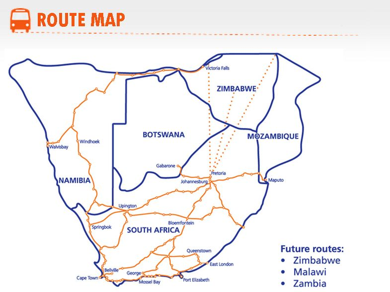 intercape bus map