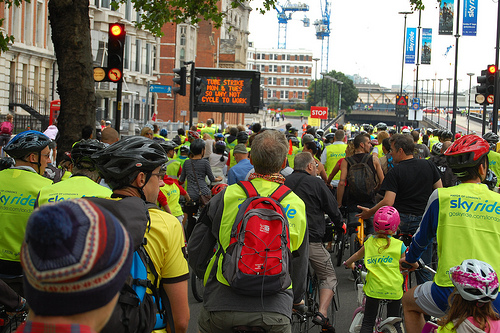Sign reads: Tube Strike Monday and Tuesday So Why Not Cycle To Work? Photo Courtesy of: https://www.flickr.com/photos/daveograve