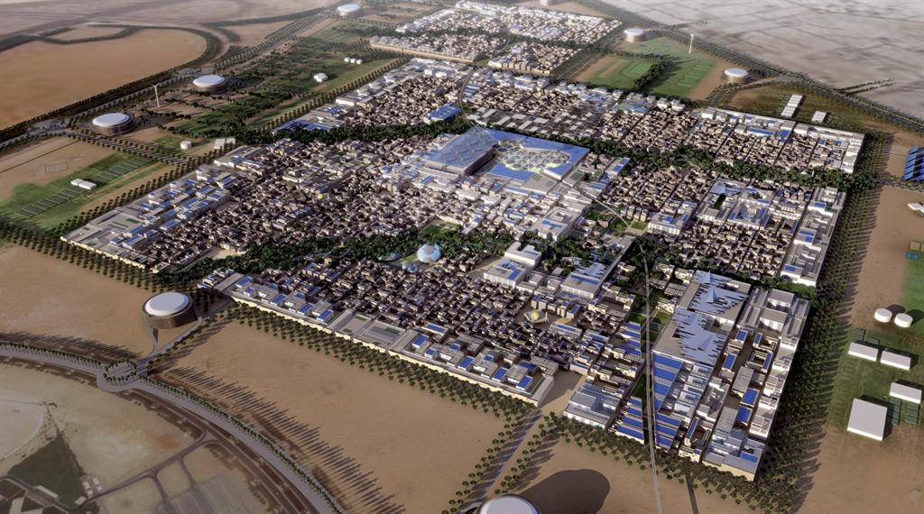 An aerial view of the city. Photo by Masdar City.