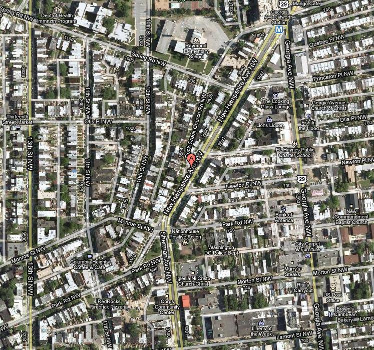 Location of the new Petworth area Capital Bikeshare. Photo via google maps.