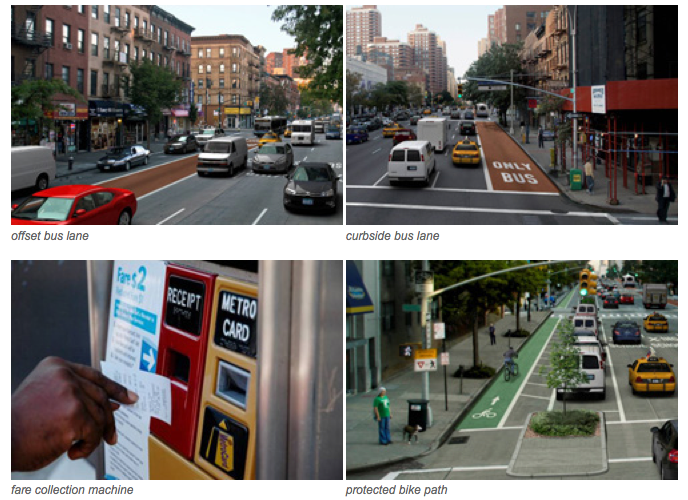 A rendering of key components of the new bus system. Photo by NYCDOT.