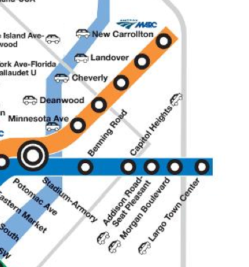 A section of the Washington, DC metro system that shows the parking symbology and the uses of a logo to show the metro's intersection with the MARC train.