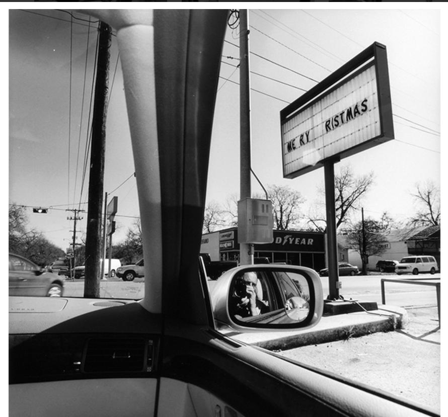 Lee Friedlander, Texas, 2006, from the series America by Car, 1995-2009. Gelatin silver print, 15 × 15 in. (38.1 × 38.1 cm). Collection of the artist; courtesy Fraenkel Gallery, San Francisco. Photo by Lee Friedlander.