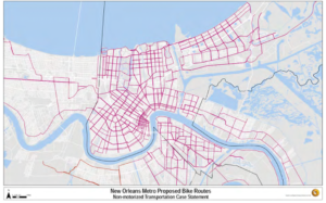 Proposed bike lanes in New Orleans.