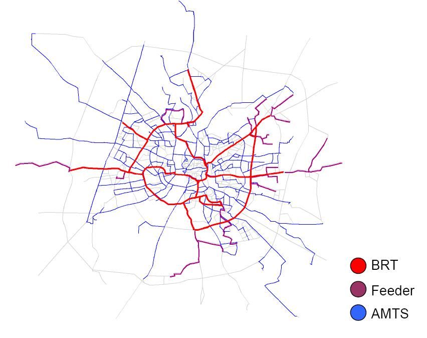 Ahmedabad's public transit network, showing the major components. Map by ITDP.
